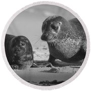 Mom And Pup  Round Beach Towel