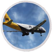 Monarch Airlines Airbus A320-214 Round Beach Towel