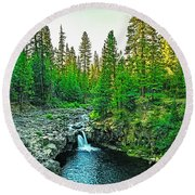 Morning At The  Falls Round Beach Towel
