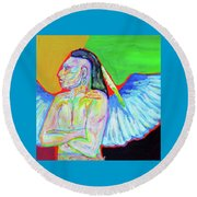 Round Beach Towel featuring the painting Morning Meditation by Brenda Pressnall
