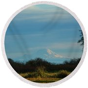Round Beach Towel featuring the photograph Mount Rainier In The Distance by Ronda Broatch