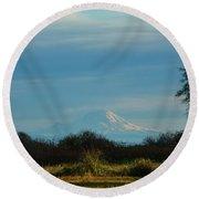Mount Rainier In The Distance Round Beach Towel