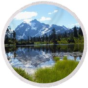 Mount Shuksan Reflection Round Beach Towel