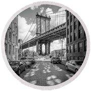 Round Beach Towel featuring the photograph New York City Manhattan Bridge by Melanie Viola