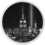 New York City Tribute In Lights Empire State Building Manhattan At Night Nyc Round Beach Towel