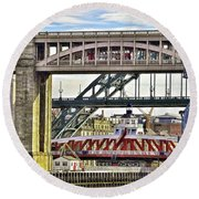 Newcastle Upon Tyne Bridges Round Beach Towel
