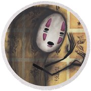 No Face Round Beach Towel by Abril Andrade Griffith
