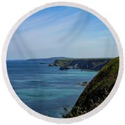 Round Beach Towel featuring the photograph North Coast Cornwall by Brian Roscorla