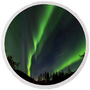Northern Lights, Aurora Borealis At Kantishna Lodge In Denali National Park Round Beach Towel by Brenda Jacobs