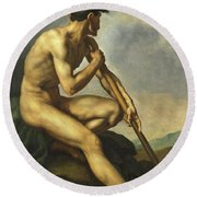 Nude Warrior With A Spear Round Beach Towel