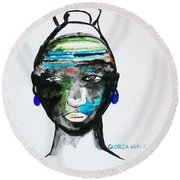 Nuer Bride - South Sudan Round Beach Towel