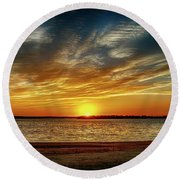 Oklahoma Sunset Round Beach Towel