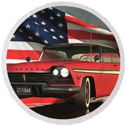 Old-timer Plymouth Round Beach Towel
