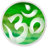 Om Symbol. Green Round Beach Towel