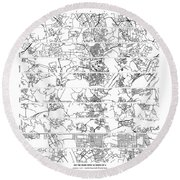 On The Road With 10 Digits Of Pi Round Beach Towel
