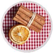 Orange And Cinnamon Round Beach Towel