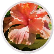 Orange Flower Round Beach Towel by James Gay