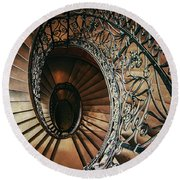 Round Beach Towel featuring the photograph Ornamented Spiral Staircase by Jaroslaw Blaminsky
