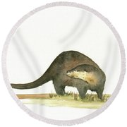 Otter Round Beach Towel by Juan Bosco