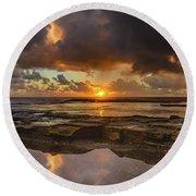 Overcast And Cloudy Sunrise Seascape Round Beach Towel