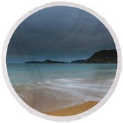 Overcast Cloudy Sunrise Seascape Round Beach Towel