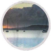 Overcast Sunrise Waterscape Round Beach Towel