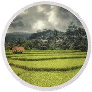Round Beach Towel featuring the photograph Paddy Field by Charuhas Images