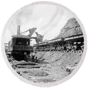 Panama Canal - Construction - C 1910 Round Beach Towel by International  Images