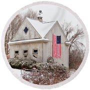 Patriotic Barn Round Beach Towel by Tricia Marchlik