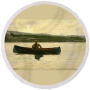 Round Beach Towel featuring the painting Playing A Fish by Winslow Homer