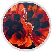 2 Poppies Round Beach Towel