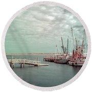 Port Royal Shrimp Boats Round Beach Towel
