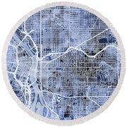 Round Beach Towel featuring the digital art Portland Oregon City Map by Michael Tompsett