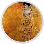 Round Beach Towel featuring the painting Portrait Of Adele Bloch-bauer by Gustav Klimt