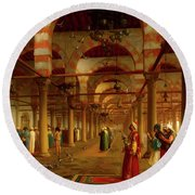 Round Beach Towel featuring the painting Prayer In The Mosque by Jean-Leon Gerome