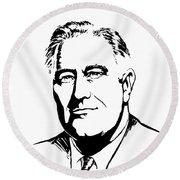 President Franklin Roosevelt Graphic Round Beach Towel