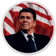 President Ronald Reagan Round Beach Towel