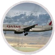 Qatar Airways Airbus A320-232 Round Beach Towel