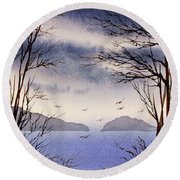 Round Beach Towel featuring the painting Quiet Shore by James Williamson