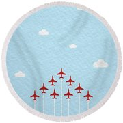 Raf Red Arrows In Formation Round Beach Towel