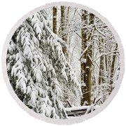 Round Beach Towel featuring the photograph Rail Fence And Snow by Thomas R Fletcher