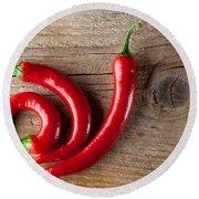 Red Chili Pepper Round Beach Towel