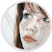Red Hair And Freckled Beauty Round Beach Towel