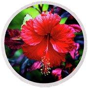 Red Hibiscus 2 Round Beach Towel