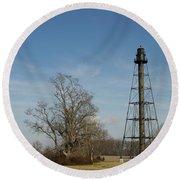 Reedy Island Lighthouse Round Beach Towel