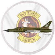 Republic F-105g Thunderchief 561tfs Round Beach Towel by Arthur Eggers