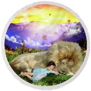Round Beach Towel featuring the digital art Rest  by Dolores Develde