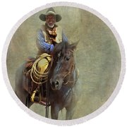 Round Beach Towel featuring the photograph Ride Em Cowboy by David and Carol Kelly