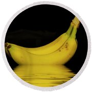 Ripe Yellow Bananas Round Beach Towel by David French