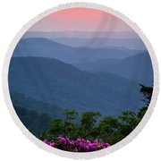 Roan Mountain Sunset Round Beach Towel